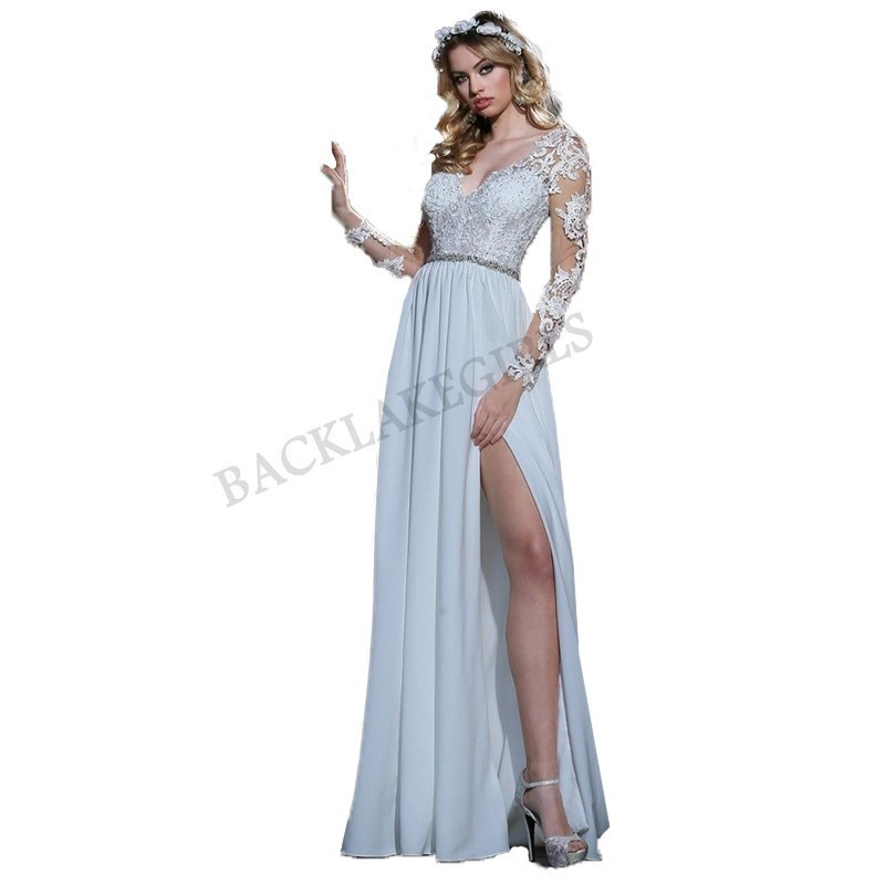 Objective Sodigne Sexy Backless Beach Dress Lace Appliques Bride Dress 2018 Cap-sleeves Slit Side White/lvory Wedding Dress Custom Made Weddings & Events