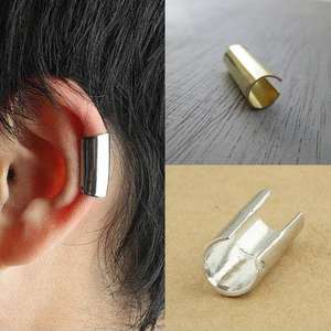 RINHOO Fashion Men Women Stainless Steel Round Hoop Ear Stud Cuff Clip Earring Punk US