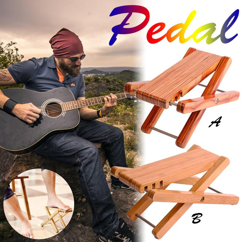 Musical Instruments Foldable Wooden Guitar Foot Rest Stool Pedal 4-level Adjustable Height Beech Wood Material