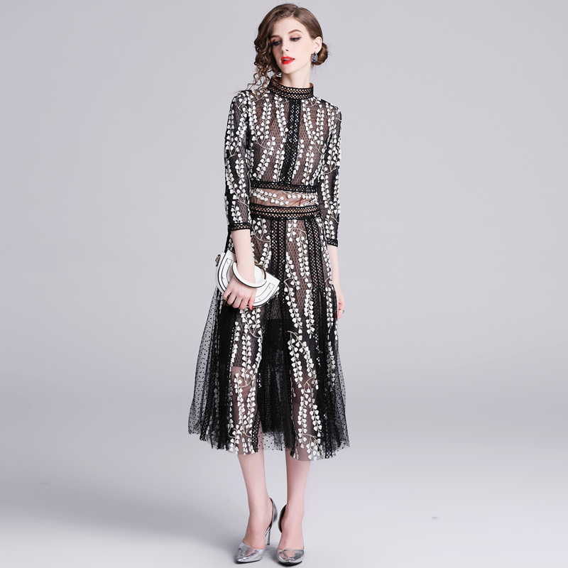 Banulin HIGH QUALITY New Fashion 2019  Autumn Runway Party Dress Women's Long Sleeve Lace Gauze Embroidery Mid calf Dress-in Dresses from Women's Clothing    3
