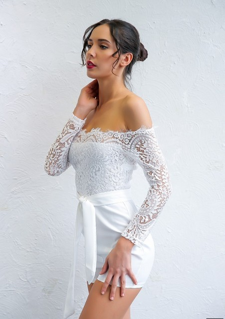 Women Solid Long Sleeve Lace Skinny Jumpsuit