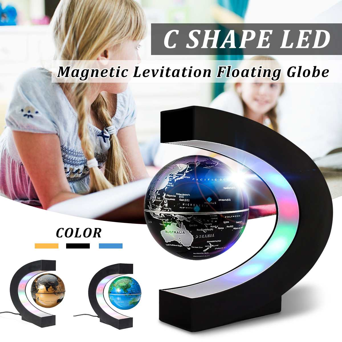 Magnetic Levitation Globe Floating World Map C Shape LED Light Terrestrial Children Learning Geography School Home Office Decor