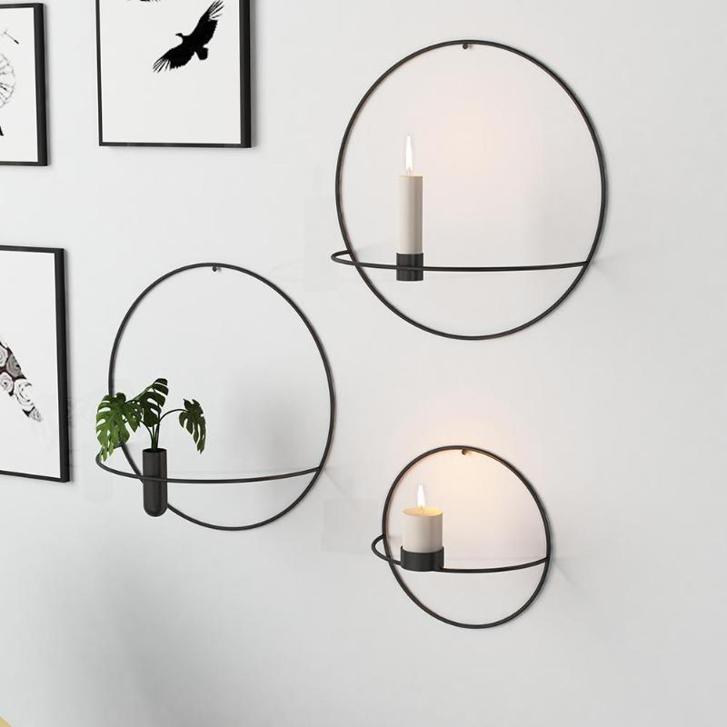 Metal Candle Holder Geometric Round Candlestick Wall ... on Metal Candle Holders For Wall id=38858