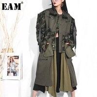 [EAM] 2019 весенние женские зеленый цвета Стенд воротник с длинным рукавом Amrmy свободные личности стежка карман пальто куртка LD66