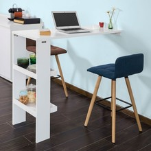 SoBuy FWT55 , Wall Mounted Kitchen Breakfast Bar Table Dining Table Coffee Bar with 2 Storage Shelves (Stool Not Included)