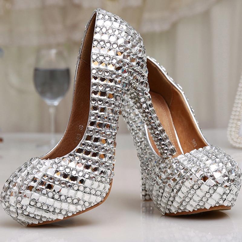 À 8cm Cristal Talons Mariage Femmes Heels Bal Argent formes Bijoux silver Silver Heels 14cm Hauts 12cm Soirée Glitter Ornée Pompes Cendrillon De Chaussures Plates 12 Cm Diamant Mariée AWFqqdx