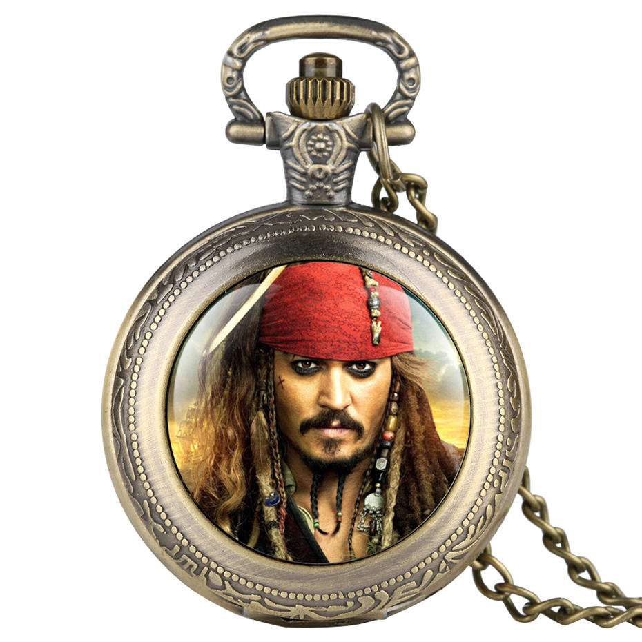 Pirates Of The Caribbean Captain Jack Pattern Pocket Watch Men Necklace Fob Watches For Kid Children Boys Clock Gifts