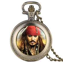 Pirates of the Caribbean Captain Jack Pattern Pocket Watch Men Necklace Fob
