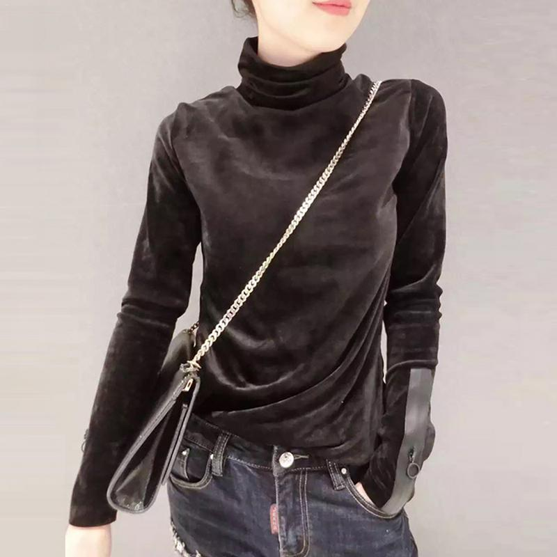 2018 Mode Frau Solide Samt Pullover Frühling Koreanische Langarm Pullover Hälfte Rollkragen Kurze Samt Pullover üBereinstimmung In Farbe