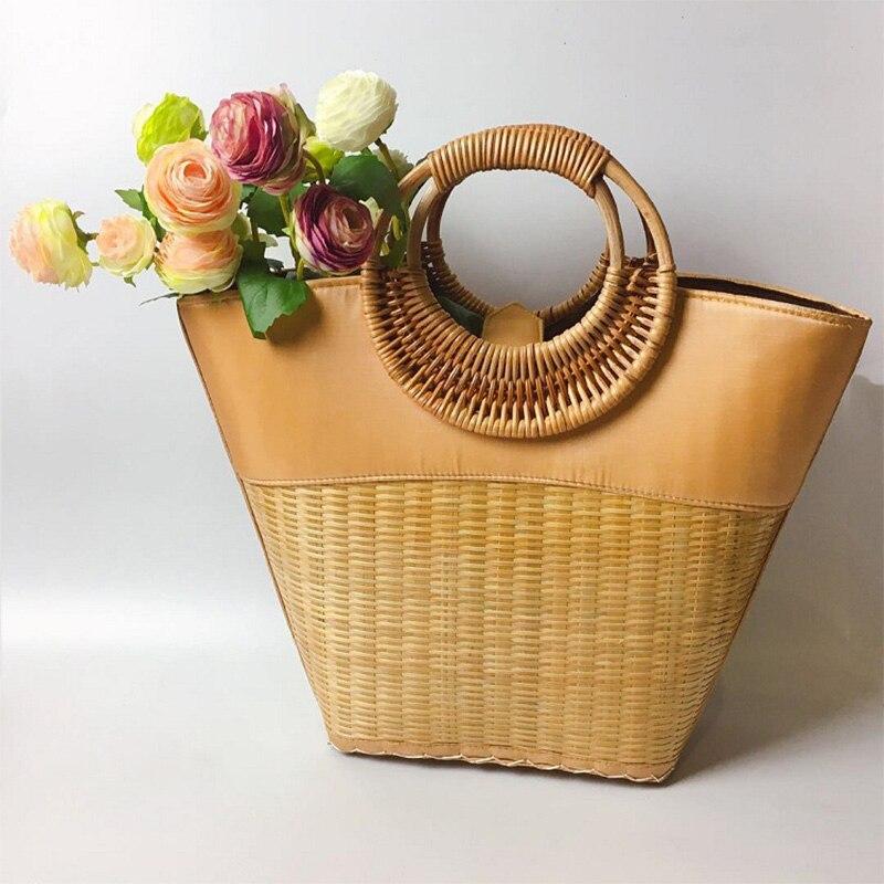 CARCHI Women s Straw Handbag Flower Woven Summer Beach Messenger Tote Bag Basket Shopper Women Rattan