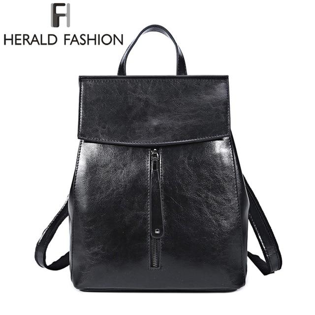 783227a712ba3 HEROLD FASHION Echtes Leder Rucksack Vintage Kuh Split Leder Frauen Rucksack  Damen Schulter Tasche Schule Tasche