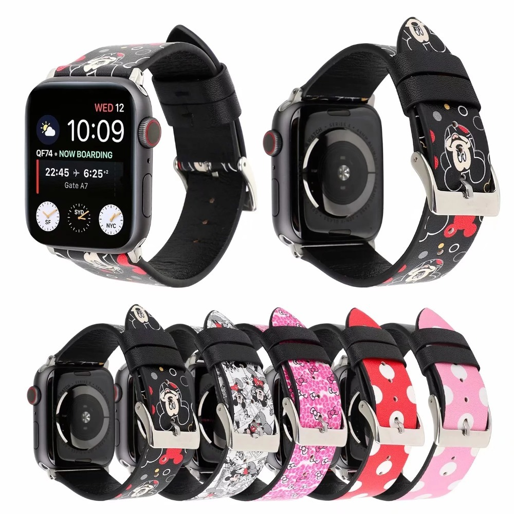 Leather band for iWatch Apple Watch band Series 1234 44mm 40mm 38mm 42mm Mickey Mouse Minnie