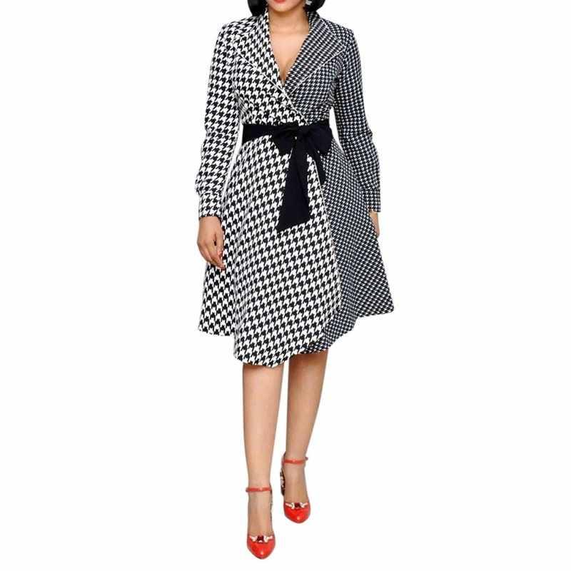 Клетчатое винтажное платье Женская офисная одежда модный пэчворк Элегантный ремень тонкий весна осень длинный рукав дамы ретро повседневные платья