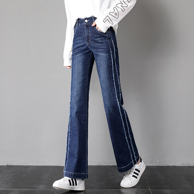 Qiukichonson High Waist Korean Style Women Straight Jeans 2019 Spring Side Stripe Patchwork Stretch Wide Leg Flare Jeans