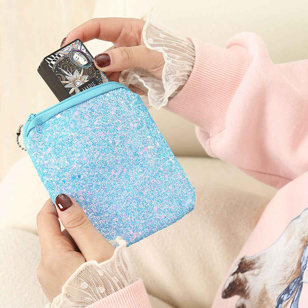Damskie musujące krótki mały cekiny portfel pani karty monety brelok pieniądze portmonetka sprzęgła torba czarny niebieski różowy biały żółty