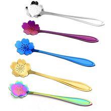 5 шт. разных цветов, вишневые ложки с цветами, набор из нержавеющей стали, кофейная чайная ложка, чайная ложка, ложка для сахара и йогурта