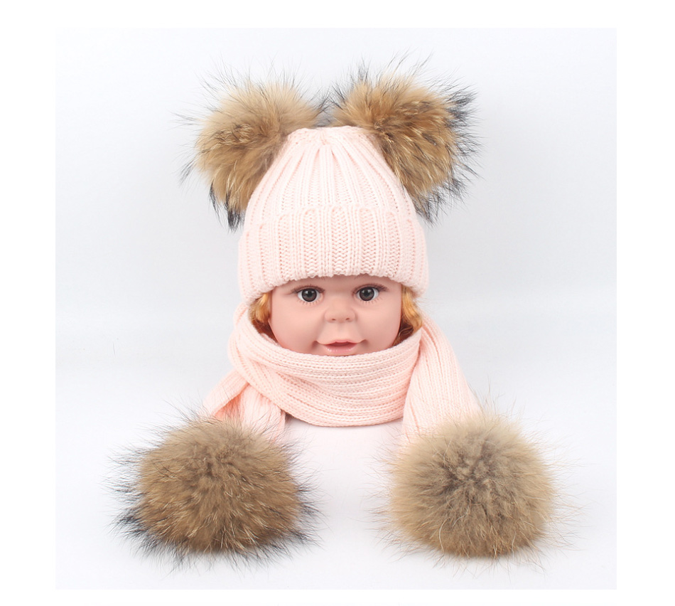 7120c02d4c2 MOLIXINYU 2PC Set Kids Winter Hat Scarf For Girls Boys Hats 4pcs Big Fur  PomPom Beanies Children s Kids Cap Knitted Winter Hat -in Hats   Caps from  Mother ...