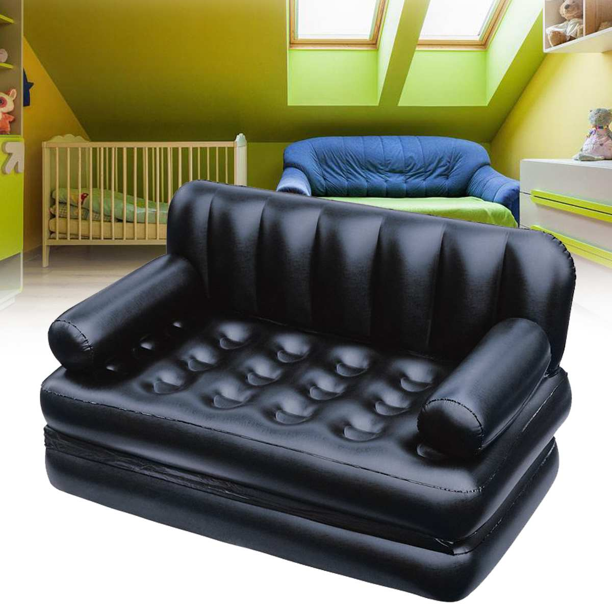 Large Inflatable Garden Sofa Lounge Blow Up Double Air Bed Multifunction Couch Camping Mattress Airbed Outdoor Furniture Black