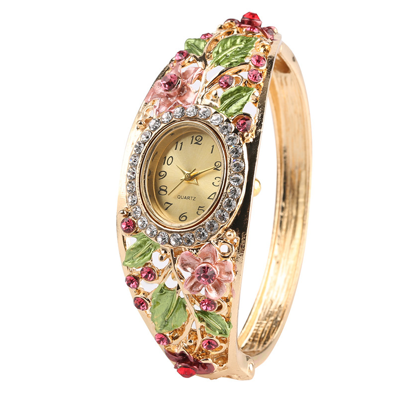 Lady Wrist Watch Naviforce Hand Ring Bracelet Watch for Woman With Diamond Inlaid National Quartz Watch Women Fashion Bracelet