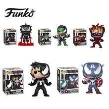 FUNKO POP 공식 Venom Eddie Iron Man 캡틴 아메리카 헐크 테마 비닐 액션 피겨 영화 팬들을위한 선물 Star Model Cllection