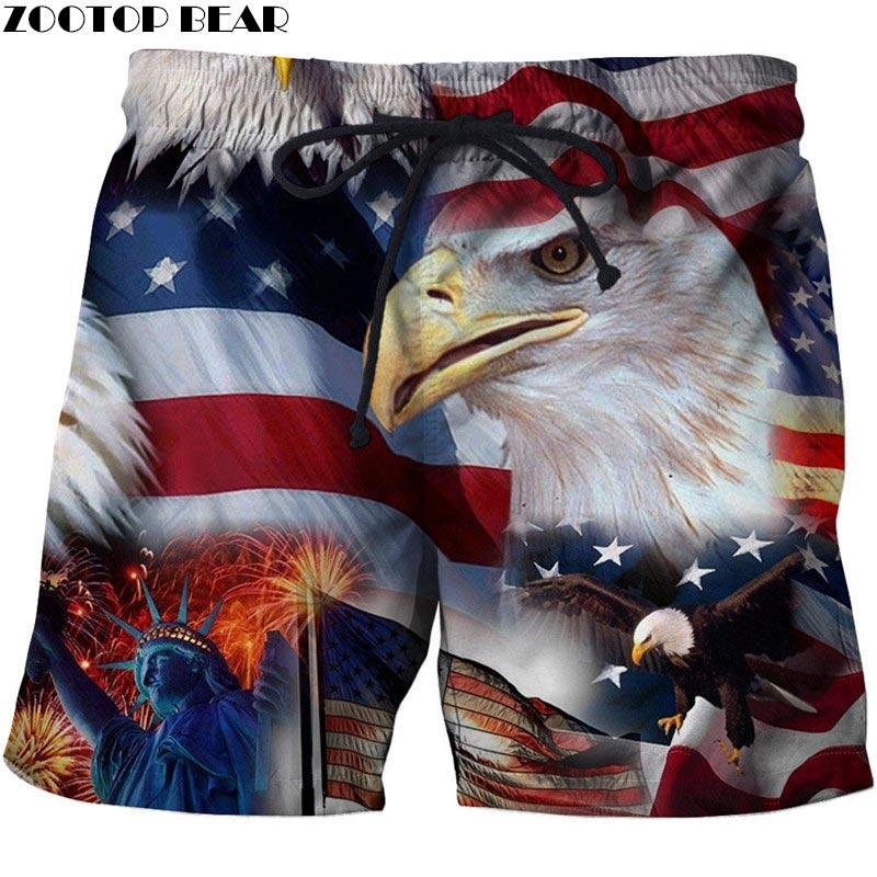 2019   USA Beach Shorts Men Casual Board Shorts Plage Vacation Quick Dry Shorts Swimwear Streetwear DropShip