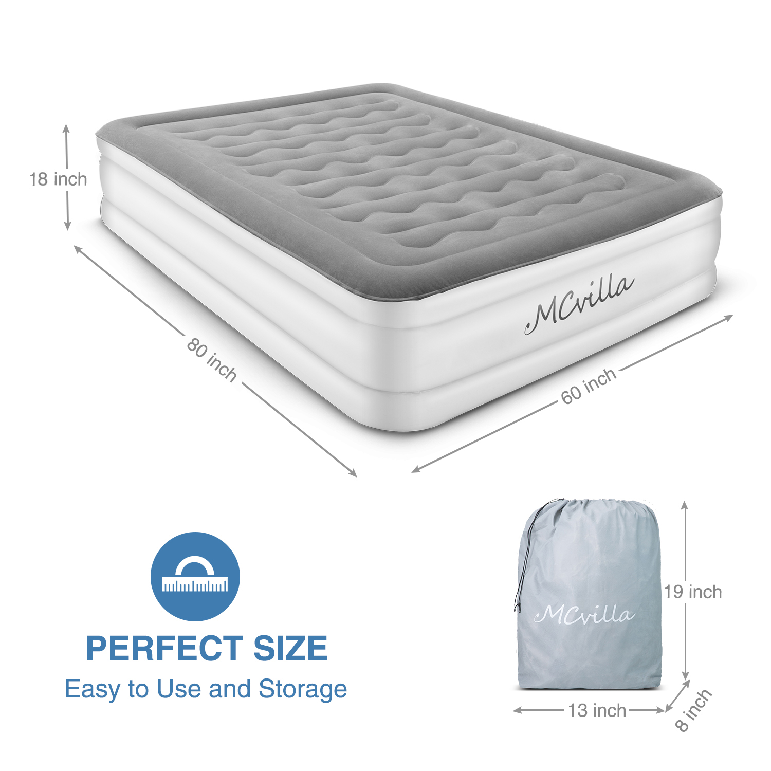 Queen Size Air Mattress Electric Inflatable Airbed Bed Home Furniture Portable Bed