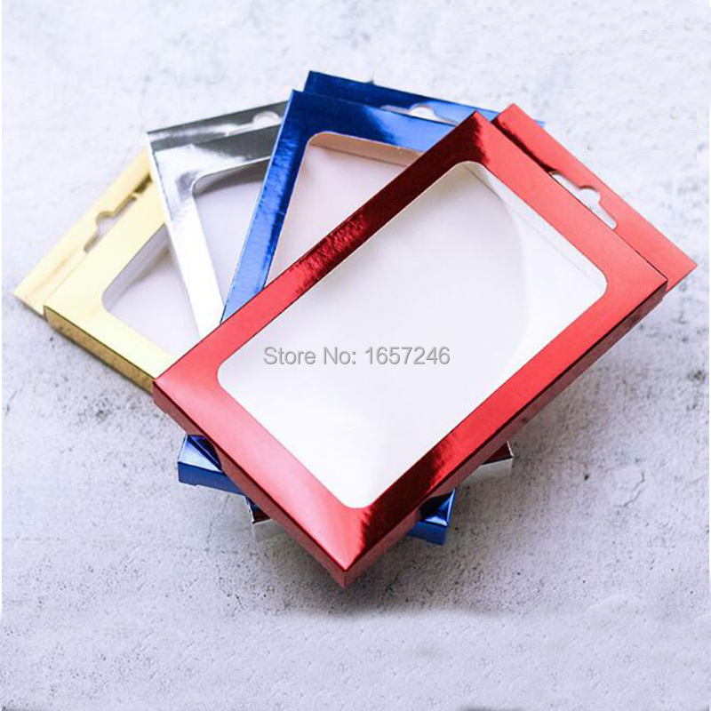 2019 Luxury Thicken Gold Silver Blue Cardboard Paper Retail Box With PVC Window for Iphone XS Max 8 7Plus case Cover Display