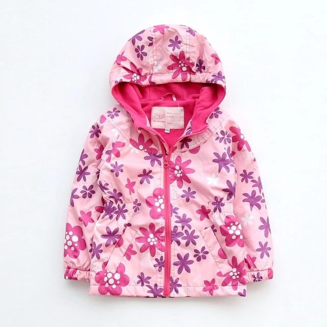 Детская теплая куртка с флисовой подкладкой для девочек на осень и весну, с капюшоном и цветочным принтом, размеры от 100 до 140