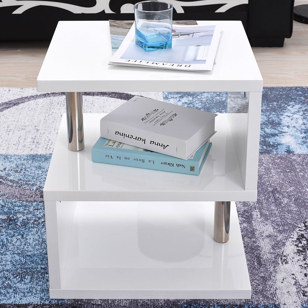Side End Tables New Modern Design White High Gloss Coffee