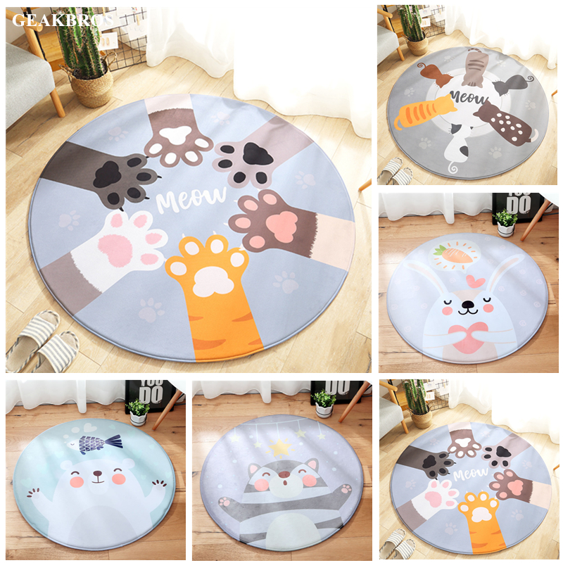 75110cm Cartoon Animals Bear Cat Rabbit Baby Play Mats Child Crawling Blanket Carpet Toys Soft Flannel Nordic Kids Room Decor