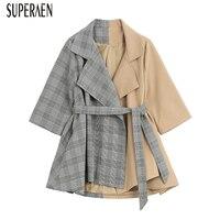 SuperAen Suit Jacket Female 2019 Spring Fashion Casual Cotton Wild Women Jacket Plaid Stitching Long Sleeve Women Clothing