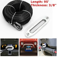 30m*9.5mm 7.5Tons Synthetic Winch Rope Line Cable Car Tow Strap For Vehicle Heavy Off Road Road Recovery Metal Hooks