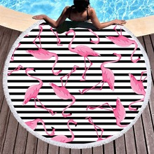 Pink Flamingo Round Beach Towel Striped Green Leaves Printed Yoga Mat Microfiber Summer Large Toalla Terry Serviette Plage
