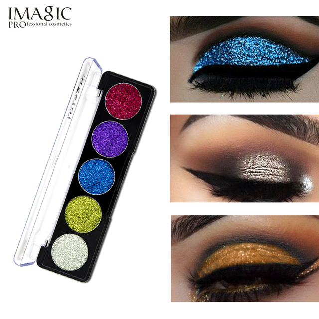 IMAGIC Brand Cold Warm Color Smoky Waterproof Eyeshadow Powder 5 Colors Pigments Shimmer Glitter Brand Eye Shadow Make Up