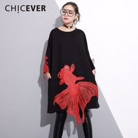 CHICEVER Spring Black Red Fish Women T shirt Female Long Sleeve Loose Pullover Women's T shirts Big Size Clothes Fashion 2018
