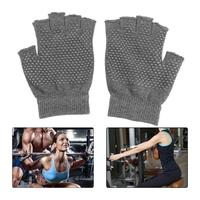 1Pair Anti Slip Fingerless Unisex Sports Gloves Grip Sticky For Yoga /Pilates Balance Warm Workout Fitness Exposed Gloves