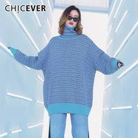 CHICEVER Autumn Winter Letter Sweater For Women's Turtleneck Long Sleeve Loose Hit Colors Thick Warm Sweaters Fashion New