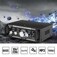 600W 12/220V 2 Mic Stereo Speaker Car Home Bass Power Amplifier HiFi MP3 Booster