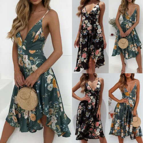 Summer Dresses 2019 New Summer Casual Women Boho Floral Dress Sexy Sleeveless Deep V Neck Backless Strap Dresses in Dresses from Women 39 s Clothing