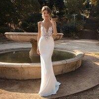 2019 Sexy Spaghetti Straps Mermaid Wedding Dresses Backless Lace Beach Bridal Gowns Bohemian Wedding Dress Vestido De Novia