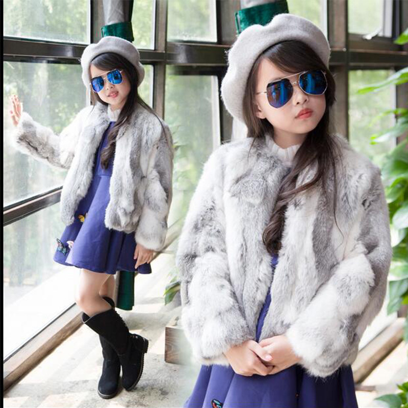 men winter solid warm coat Children Real Rabbit Fur Coat Autumn Winter Warm Fur Coat Girls Clothing Short Solid Full Coat High-quality Coat jacket C#9