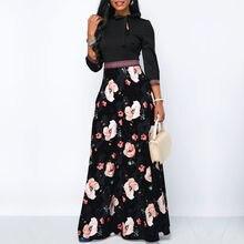 Женские Длинные Макси платья в богемном стиле с вырезом и рукавом три четверти, цветочный принт, этническое летнее пляжное женское стильное платье
