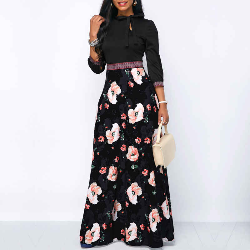 Women Long Maxi Dresses Bohemia Hollow neck Three Quarter Sleeve Floral Print Ethnic Summer Beach Female Stylish Style Dress