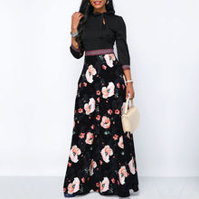 7aaa2faf937 Femmes longues Maxi robes bohême creux cou trois quarts manches imprimé  Floral ethnique été plage femme Style élégant robe