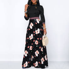Women Long Maxi Dresses Bohemia Hollow neck Three Quarter Sleeve Floral Print Ethnic Summer Beach Female Stylish Style Dress(China)