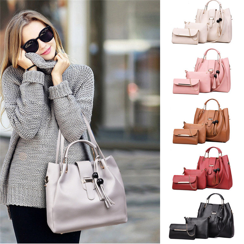 3PCS/Set Women Lady Leather Tote Shoulder Bag Handbag Satchel Messenger Bags