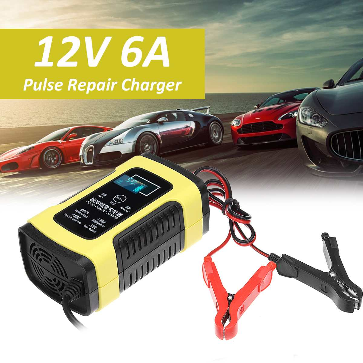 12V 6A Automatic Car Motorcycle Truck Smart Battery Charger Maintainer Desulfator Lead Acid Battery Fast Power Charging12V 6A Automatic Car Motorcycle Truck Smart Battery Charger Maintainer Desulfator Lead Acid Battery Fast Power Charging