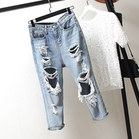 Womens Oversize Jeans Denim Loose Slim Fitted Vintage Hole Harem Pants Plus Size Blue Hollow Out Boyfriend Style Jeans Pants