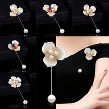 RINHOO 2018 Fashion New Sweater Brooch Rose Flower Corsage Camellia Long Needle Pin For Women Shawl Shirt Collar Accessories брошь rinhoo jewelry pin w22977