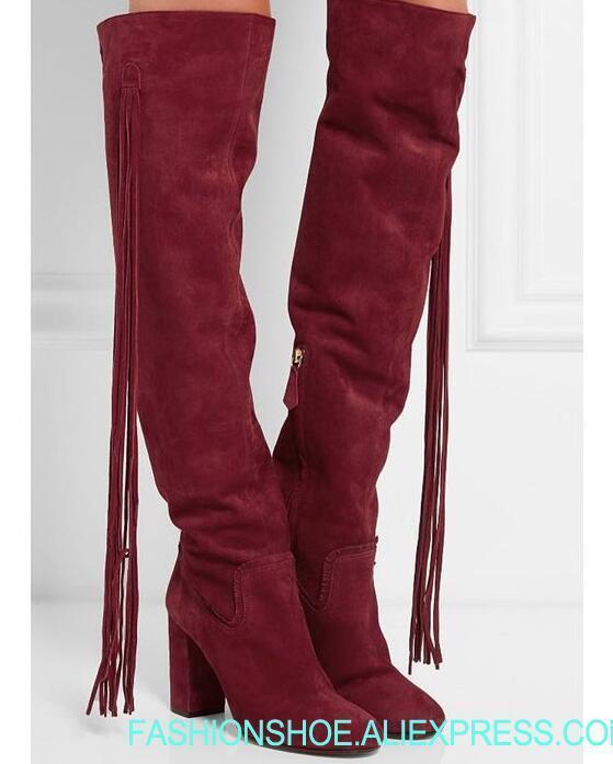 Высокие женские сапоги до колена с бахромой сбоку, ковбойские женские сапоги на массивном каблуке с круглым носком, сапоги на молнии, женски